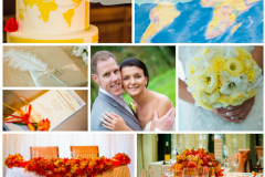 Hot orange & sunshine yellow wedding