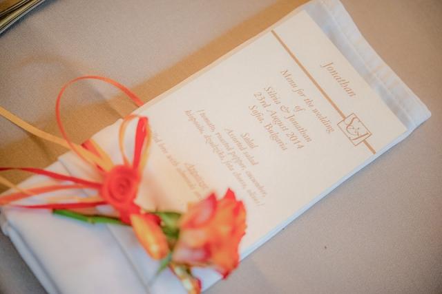 сватбено меню, декорация на сватбена агенция Приказен ден, сватбен агент Мариела Уилсън