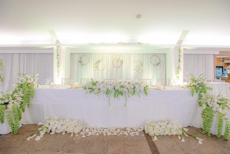 украса на масата за младоженци, цветя за масата на младоженците, идеи за украса на булчинската маса, декорация на сватбена агенция Приказен ден, сватбен агент Мариела Уилсън